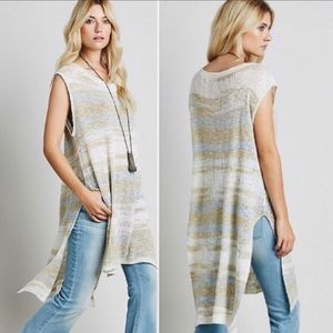 Free People Always Sunny Days Striped Knit Tunic